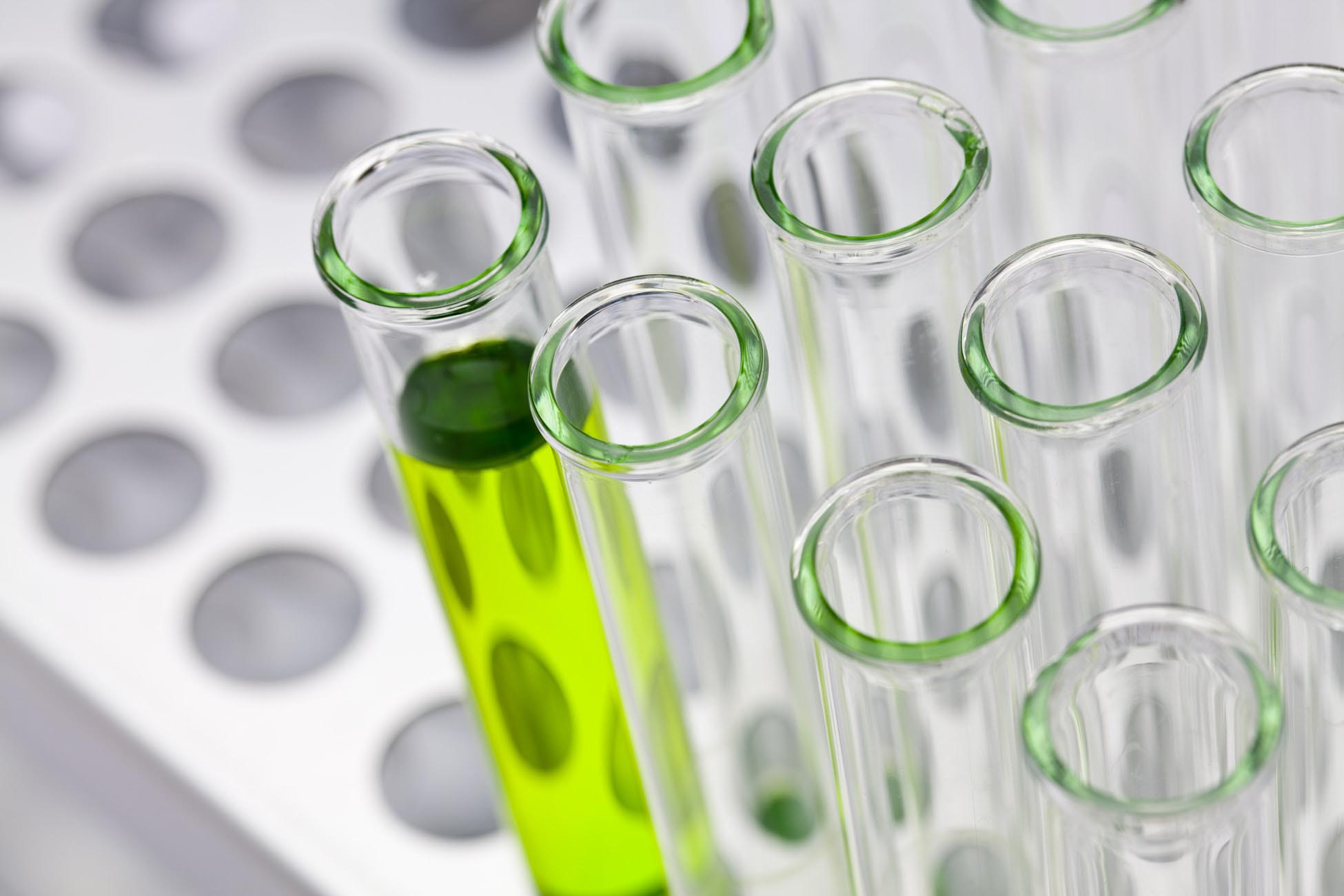 Test Tube in Rack with Green Liquid